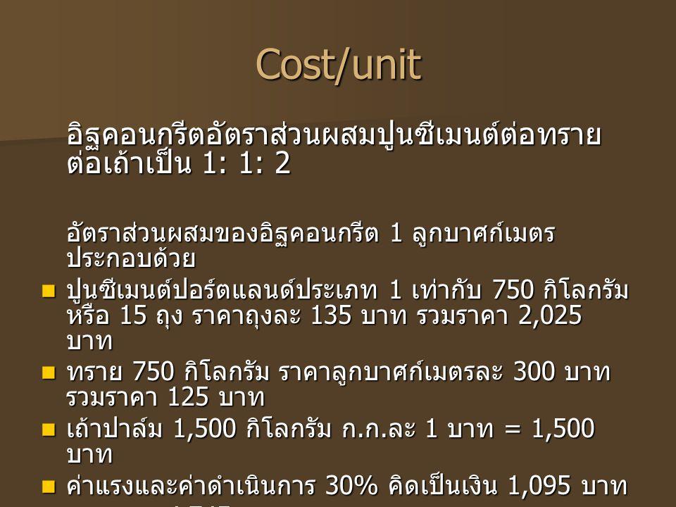 Cost/unit อิฐคอนกรีตอัตราส่วนผสมปูนซีเมนต์ต่อทรายต่อเถ้าเป็น 1: 1: 2