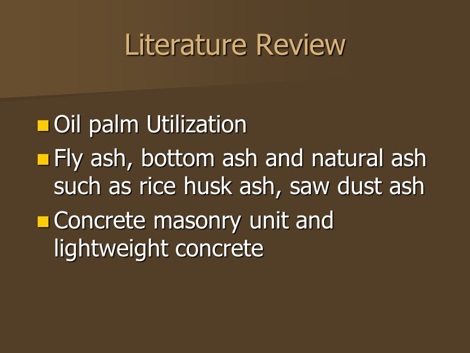Literature Review Oil palm Utilization