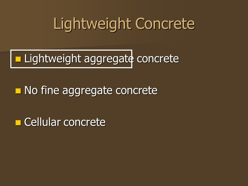Lightweight Concrete Lightweight aggregate concrete