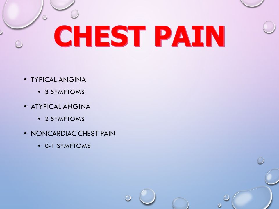 CHEST PAIN Typical angina Atypical angina Noncardiac chest pain