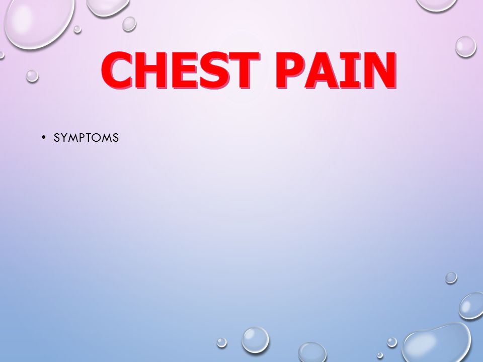 CHEST PAIN Symptoms