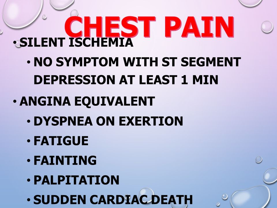 CHEST PAIN Silent ischemia