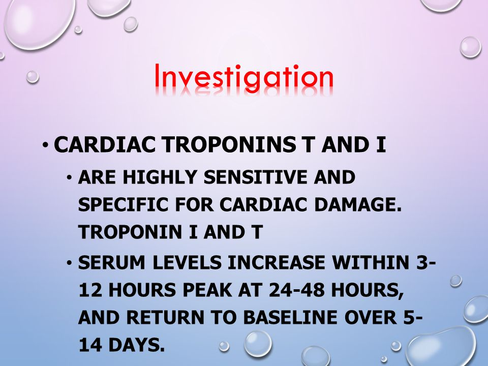 Investigation Cardiac troponins T and I