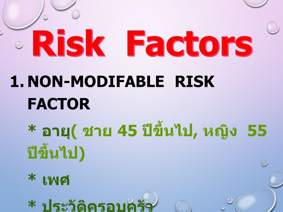 Risk Factors Non-Modifable risk factor