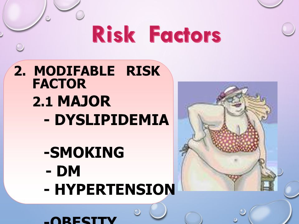 Risk Factors - Dyslipidemia -Smoking - DM - Hypertension -Obesity