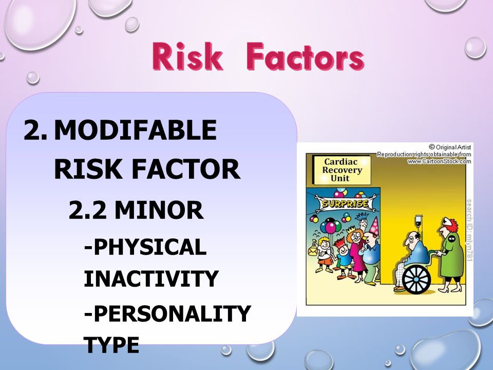 Risk Factors Modifable risk factor 2.2 Minor -Physical inactivity