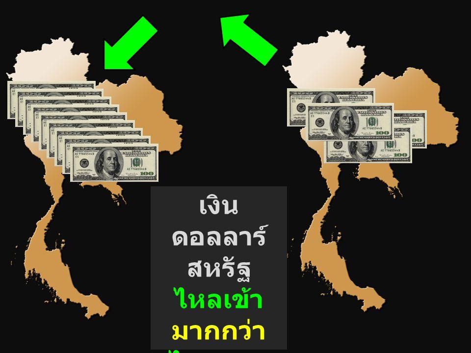 เงินดอลลาร์สหรัฐ ไหลเข้า มากกว่า ไหลออก