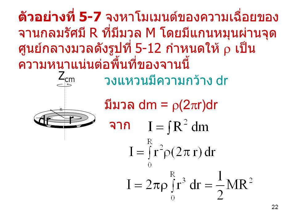 ตัวอย่างที่ 5-7 จงหาโมเมนต์ของความเฉื่อยของจานกลมรัศมี R ที่มีมวล M โดยมีแกนหมุนผ่านจุดศูนย์กลางมวลดังรูปที่ 5-12 กำหนดให้  เป็นความหนาแน่นต่อพื้นที่ของจานนี้