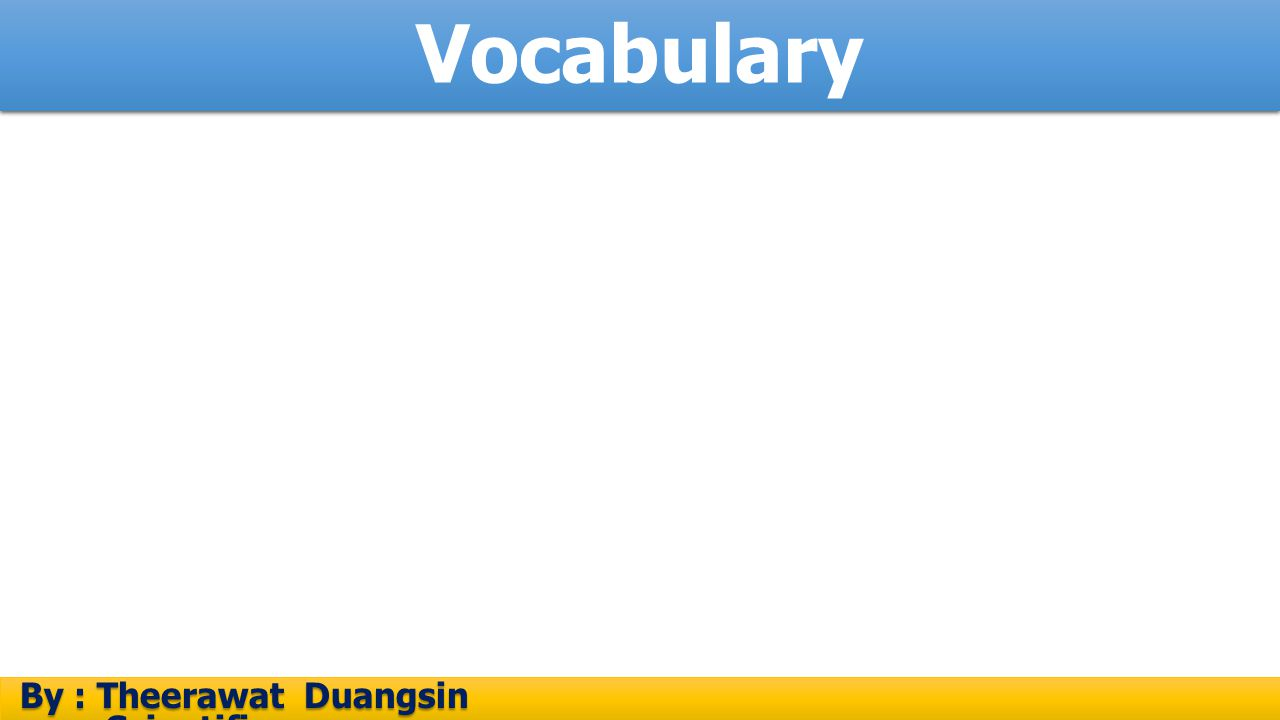 Vocabulary By : Theerawat Duangsin Scientific process