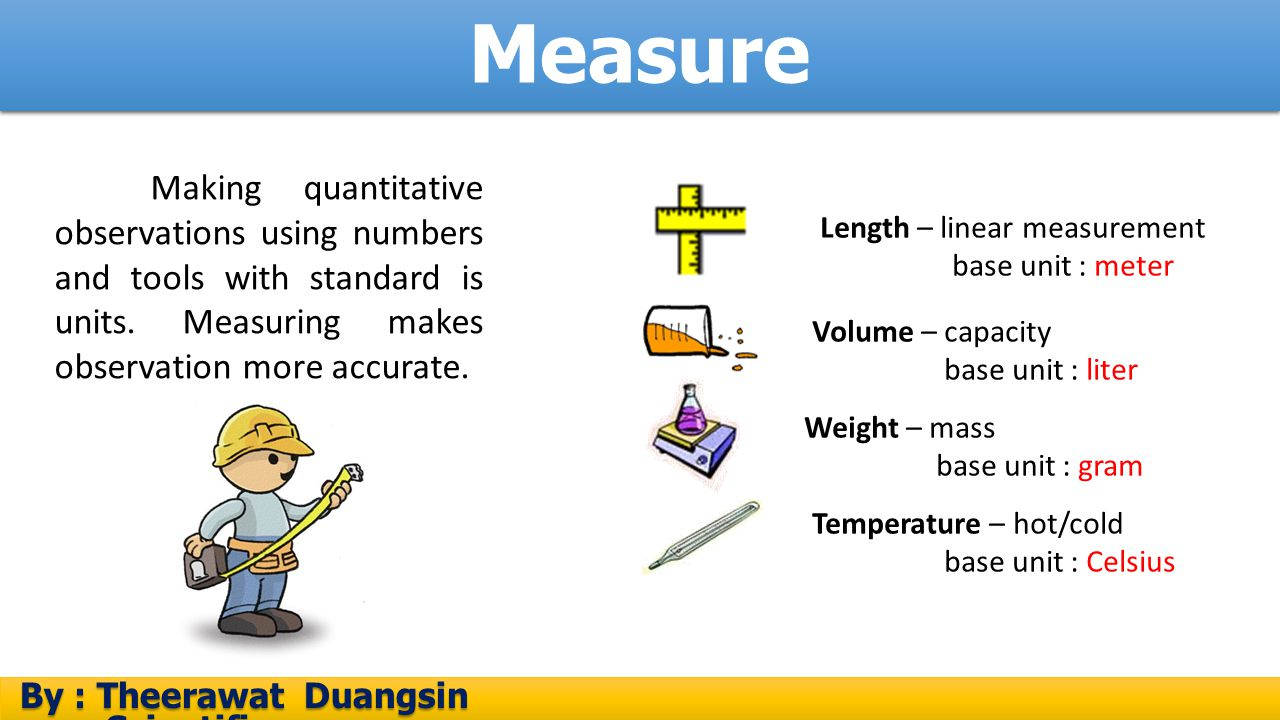 Measure Making quantitative observations using numbers and tools with standard is units. Measuring makes observation more accurate.