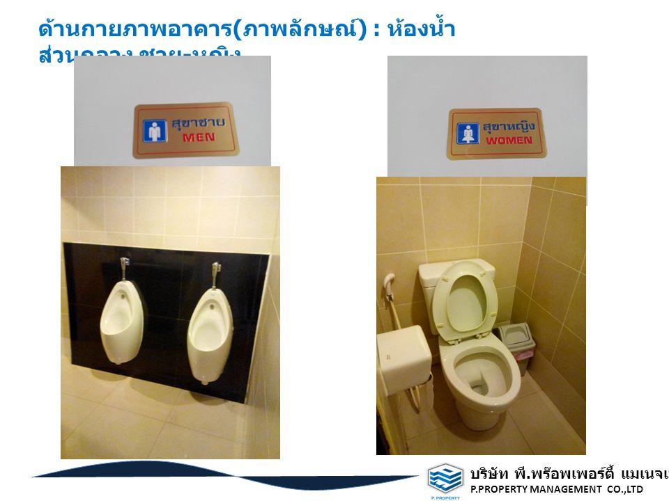 ด้านกายภาพอาคาร(ภาพลักษณ์) : ห้องน้ำส่วนกลาง ชาย-หญิง