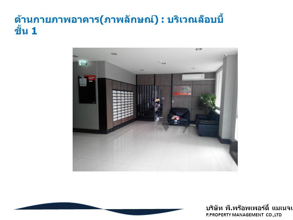 ด้านกายภาพอาคาร(ภาพลักษณ์) : บริเวณล็อบบี้ ชั้น 1