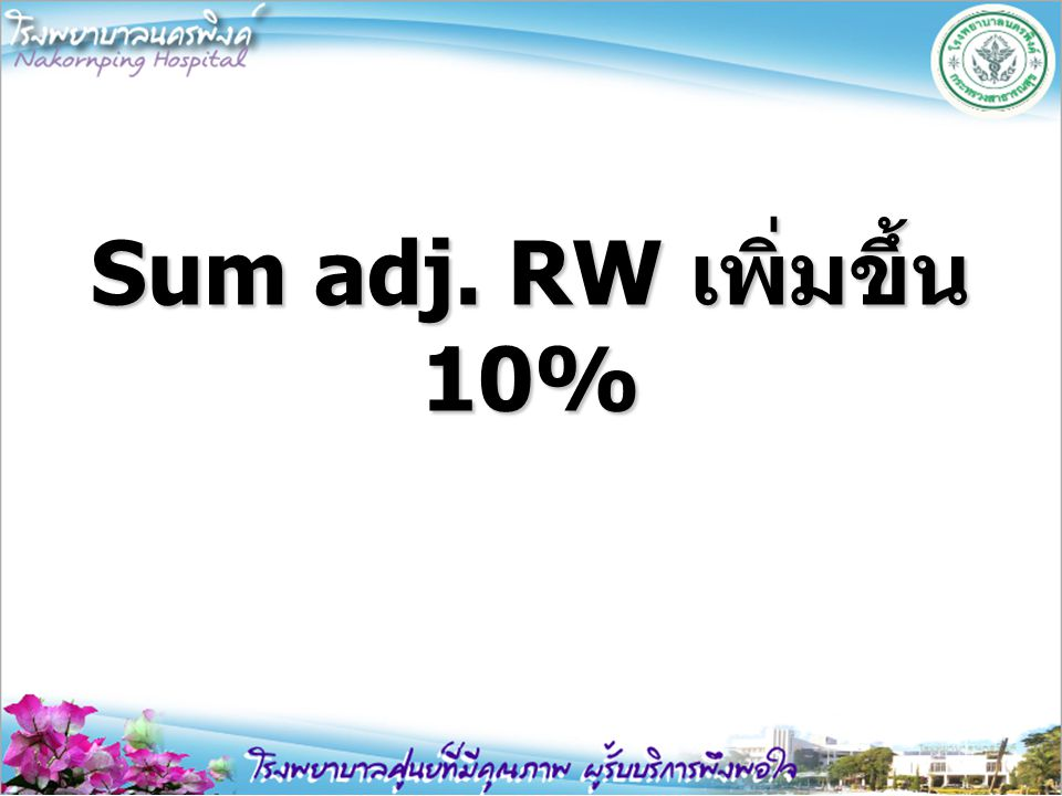 Sum adj. RW เพิ่มขึ้น 10%