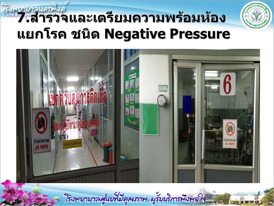 7.สำรวจและเตรียมความพร้อมห้องแยกโรค ชนิด Negative Pressure