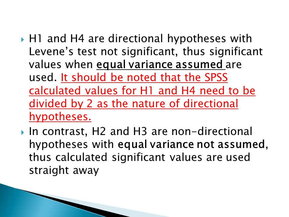 H1 and H4 are directional hypotheses with Levene's test not significant, thus significant values when equal variance assumed are used. It should be noted that the SPSS calculated values for H1 and H4 need to be divided by 2 as the nature of directional hypotheses.