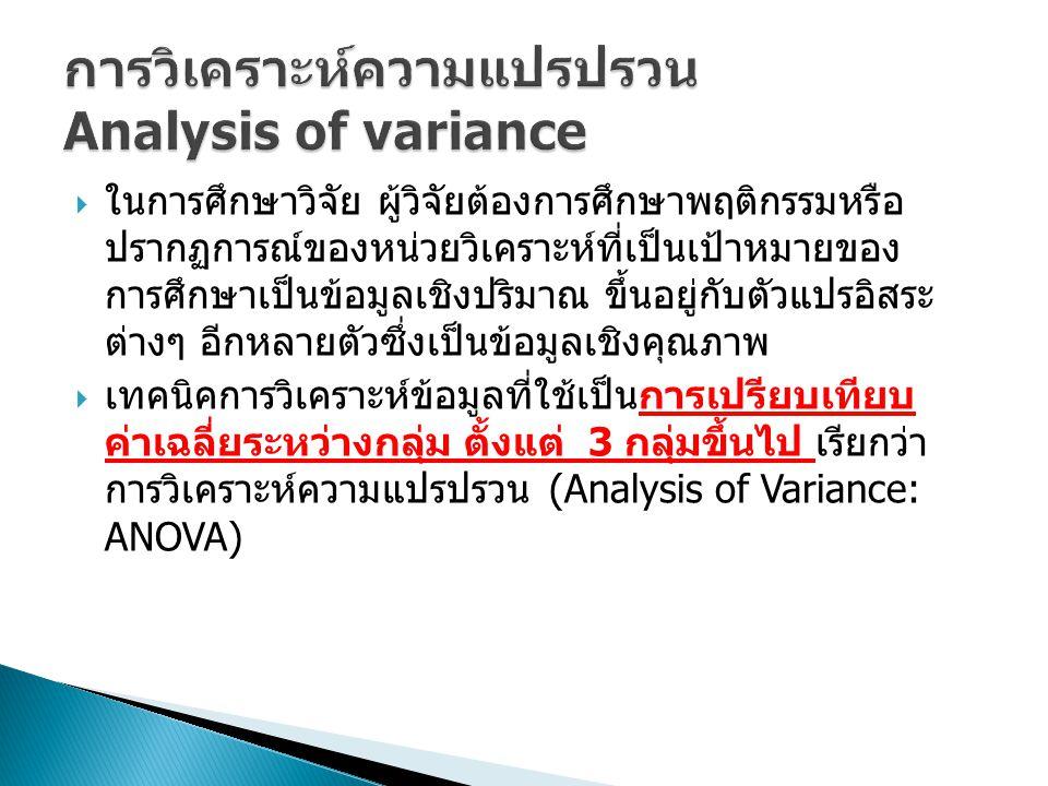 การวิเคราะห์ความแปรปรวน Analysis of variance