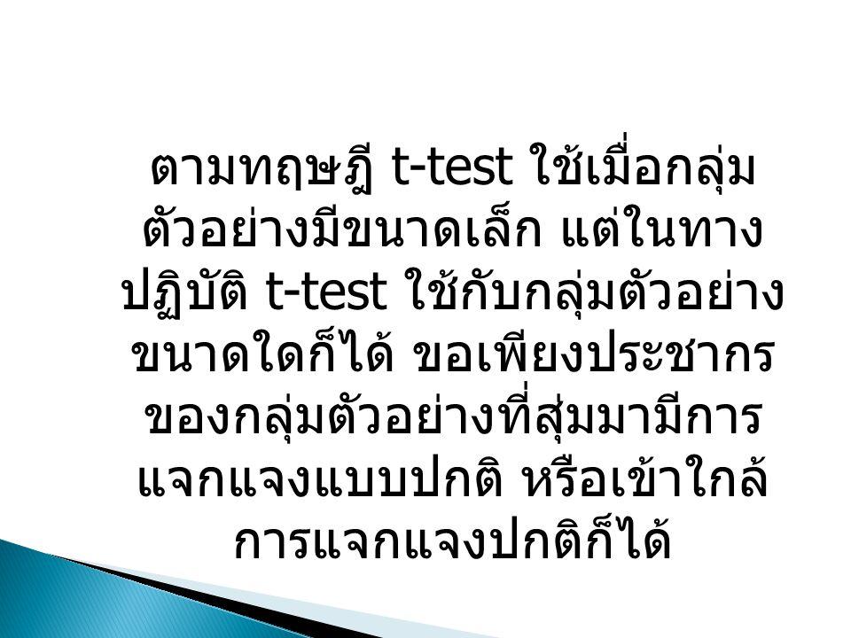 ตามทฤษฎี t-test ใช้เมื่อกลุ่มตัวอย่างมีขนาด เล็ก แต่ในทางปฏิบัติ t-test ใช้กับกลุ่มตัวอย่าง ขนาดใดก็ได้ ขอเพียงประชากรของกลุ่ม ตัวอย่างที่สุ่มมามีการแจกแจงแบบปกติ หรือเข้า ใกล้การแจกแจงปกติก็ได้