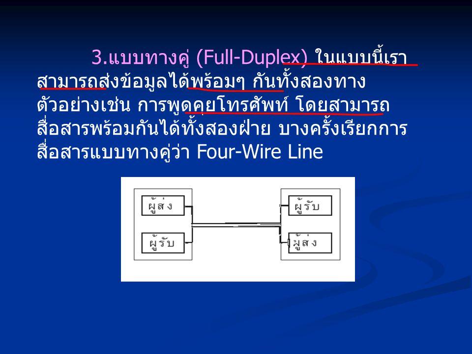 3.แบบทางคู่ (Full-Duplex) ในแบบนี้เราสามารถส่งข้อมูลได้พร้อมๆ กันทั้งสองทาง ตัวอย่างเช่น การพูดคุยโทรศัพท์ โดยสามารถสื่อสารพร้อมกันได้ทั้งสองฝ่าย บางครั้งเรียกการสื่อสารแบบทางคู่ว่า Four-Wire Line