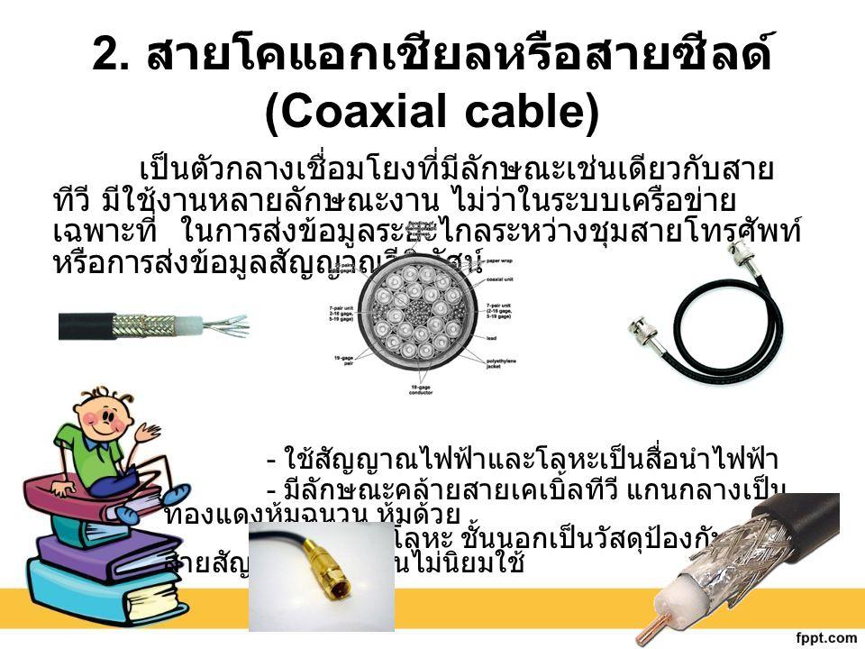 2. สายโคแอกเชียลหรือสายซีลด์(Coaxial cable)