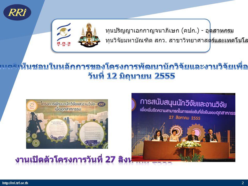 งานเปิดตัวโครงการวันที่ 27 สิงหาคม 2555