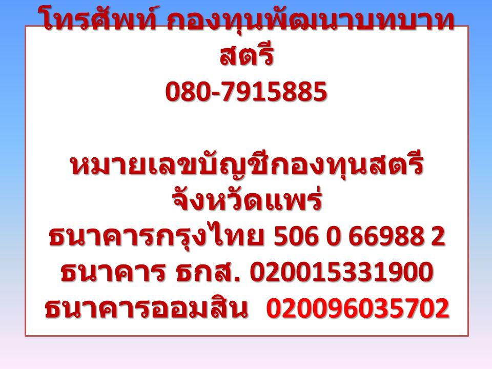 โทรศัพท์ กองทุนพัฒนาบทบาทสตรี 080-7915885 หมายเลขบัญชีกองทุนสตรี จังหวัดแพร่ ธนาคารกรุงไทย 506 0 66988 2 ธนาคาร ธกส.