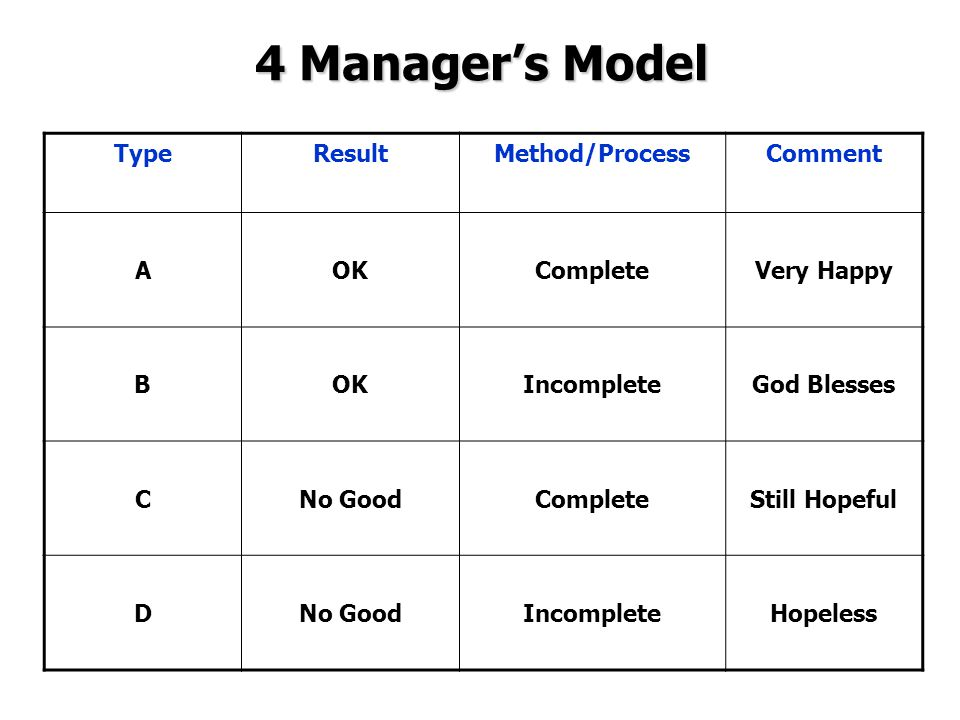4 Manager's Model Type Result Method/Process Comment A OK Complete