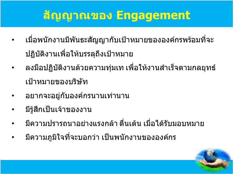 สัญญาณของ Engagement เมื่อพนักงานมีพันธะสัญญากับเป้าหมายขององค์กรพร้อมที่จะปฏิบัติงานเพื่อให้บรรลุถึงเป้าหมาย.