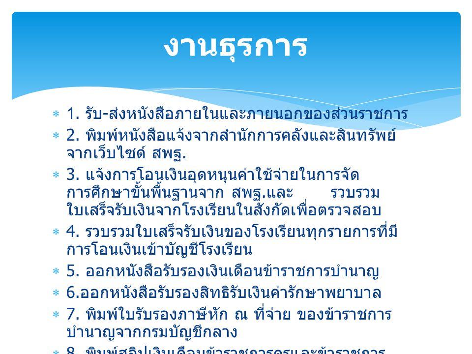 งานธุรการ 1. รับ-ส่งหนังสือภายในและภายนอกของส่วนราชการ