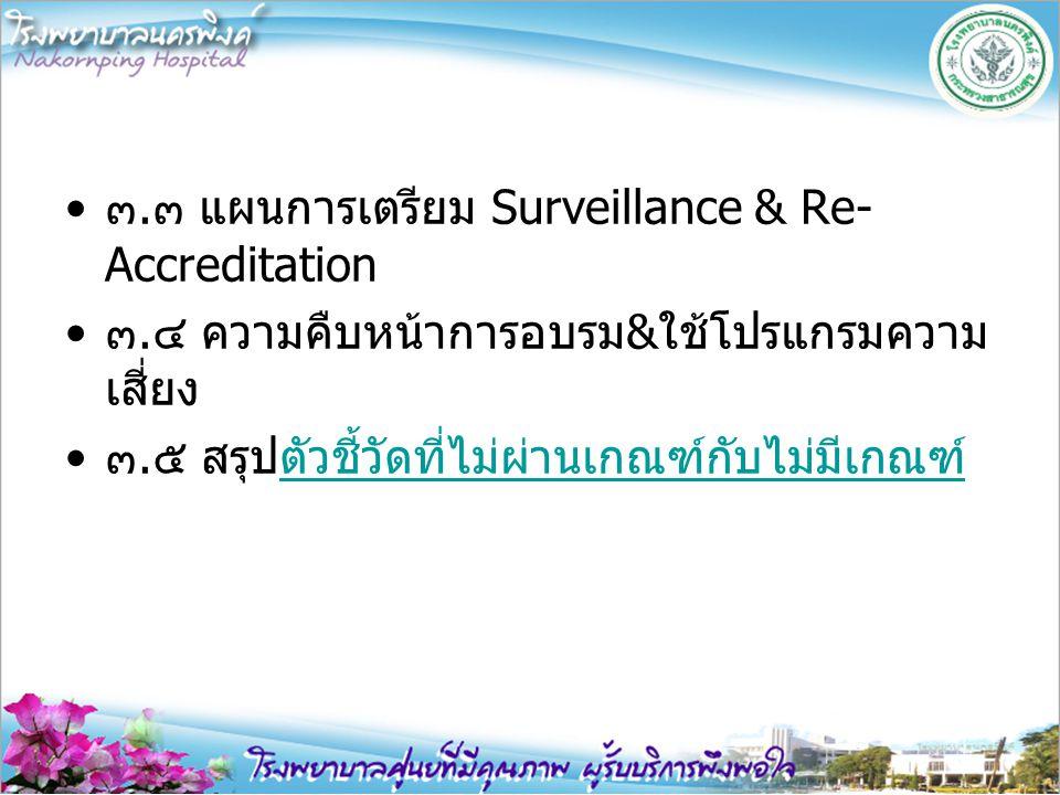 ๓.๓ แผนการเตรียม Surveillance & Re-Accreditation