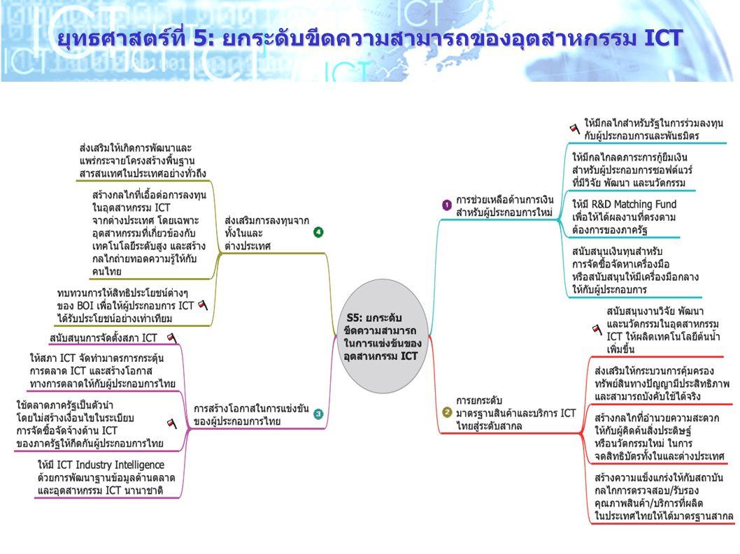 ยุทธศาสตร์ที่ 5: ยกระดับขีดความสามารถของอุตสาหกรรม ICT