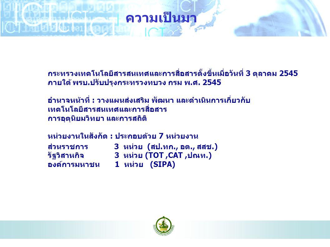 ความเป็นมา กระทรวงเทคโนโลยีสารสนเทศและการสื่อสารตั้งขึ้นเมื่อวันที่ 3 ตุลาคม 2545 ภายใต้ พรบ.ปรับปรุงกระทรวงทบวง กรม พ.ศ. 2545.