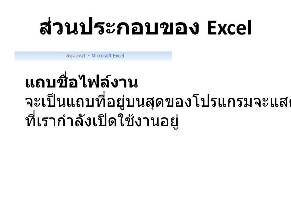 ส่วนประกอบของ Excel แถบชื่อไฟล์งาน