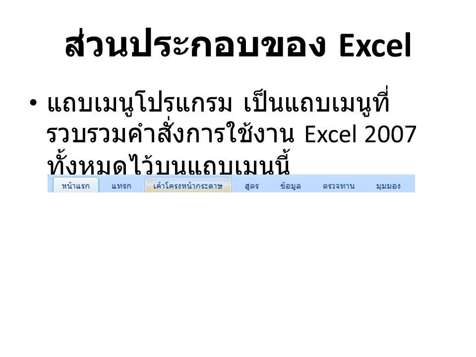 ส่วนประกอบของ Excel แถบเมนูโปรแกรม เป็นแถบเมนูที่รวบรวมคำสั่งการใช้งาน Excel 2007 ทั้งหมดไว้บนแถบเมนูนี้