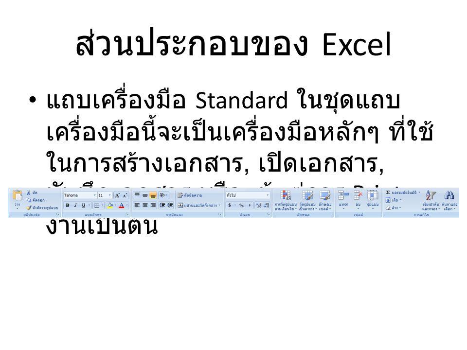 ส่วนประกอบของ Excel