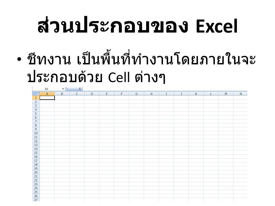 ส่วนประกอบของ Excel ชีทงาน เป็นพื้นที่ทำงานโดยภายในจะประกอบด้วย Cell ต่างๆ