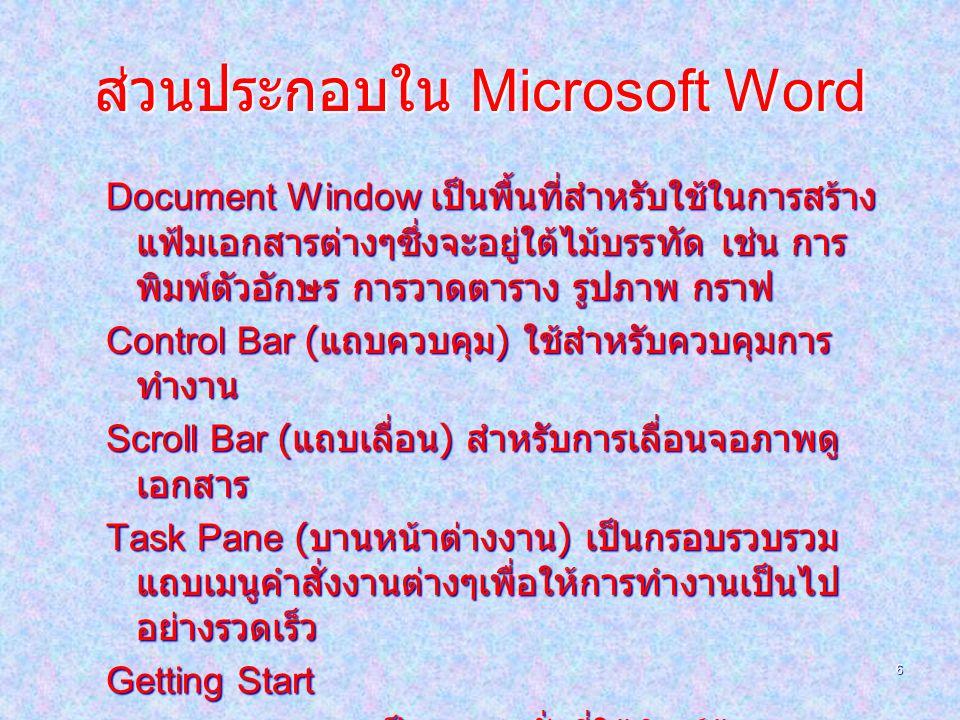 ส่วนประกอบใน Microsoft Word