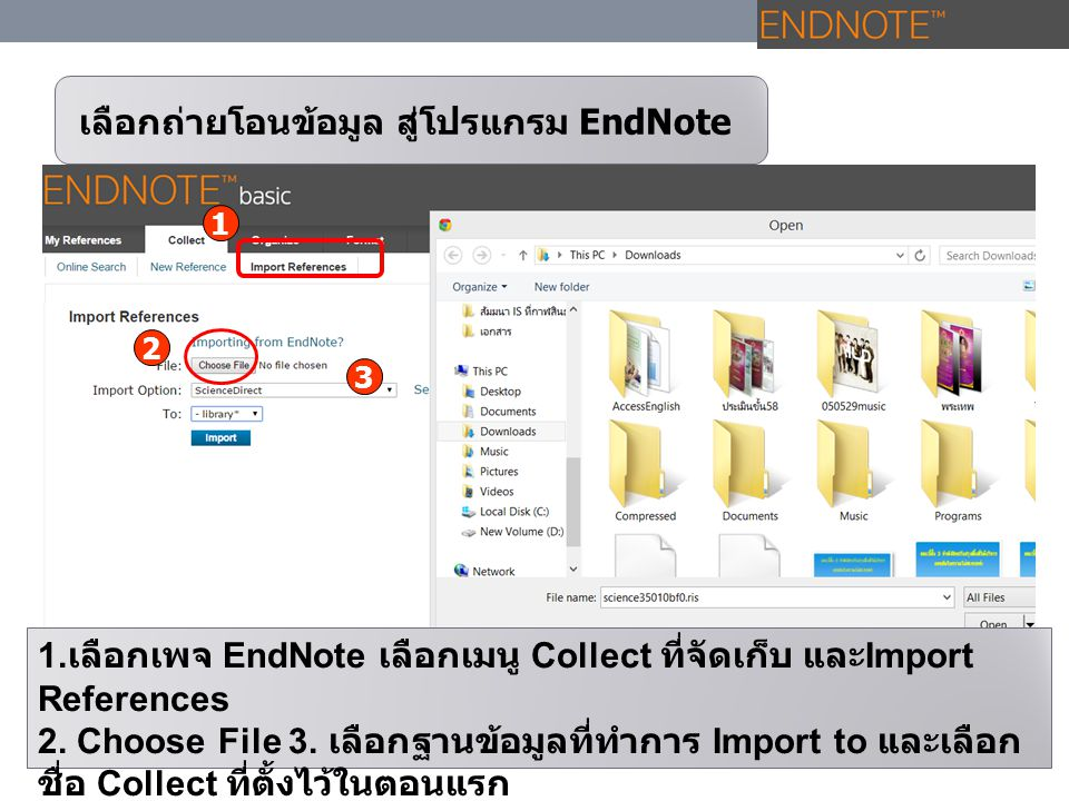 เลือกถ่ายโอนข้อมูล สู่โปรแกรม EndNote