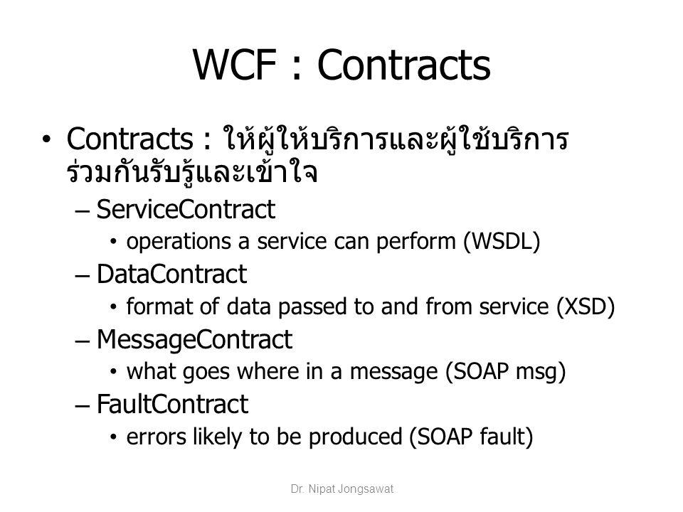 WCF : Contracts Contracts : ให้ผู้ให้บริการและผู้ใช้บริการร่วมกันรับรู้และเข้าใจ. ServiceContract.
