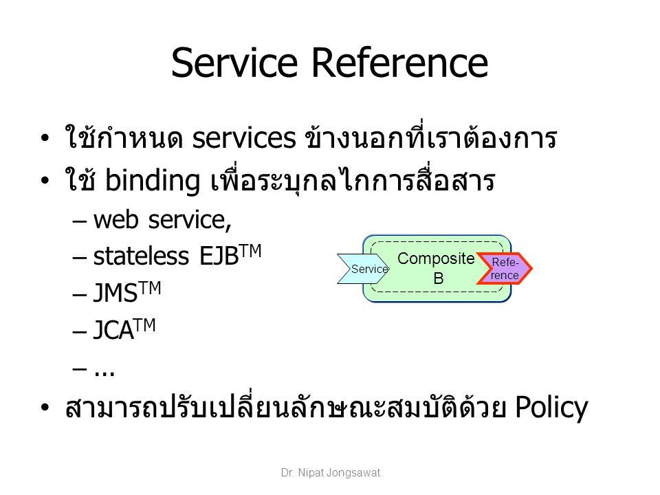 Service Reference ใช้กำหนด services ข้างนอกที่เราต้องการ