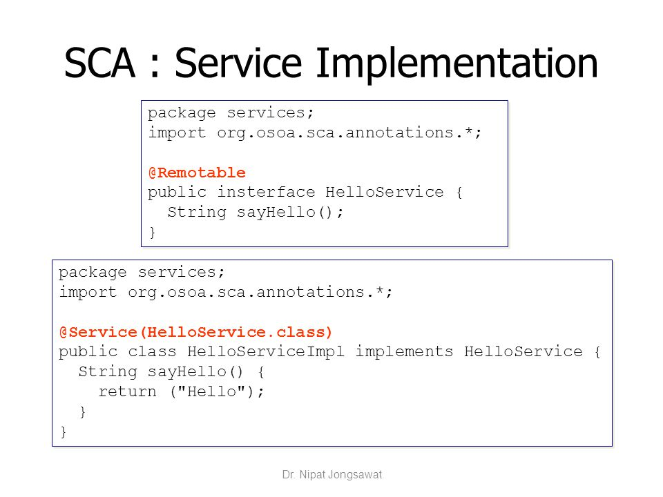 SCA : Service Implementation
