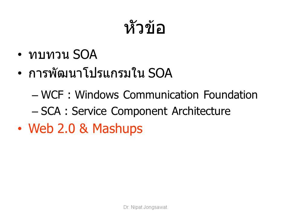 หัวข้อ ทบทวน SOA การพัฒนาโปรแกรมใน SOA Web 2.0 & Mashups