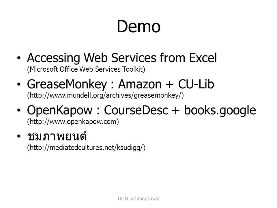 Demo Accessing Web Services from Excel (Microsoft Office Web Services Toolkit)