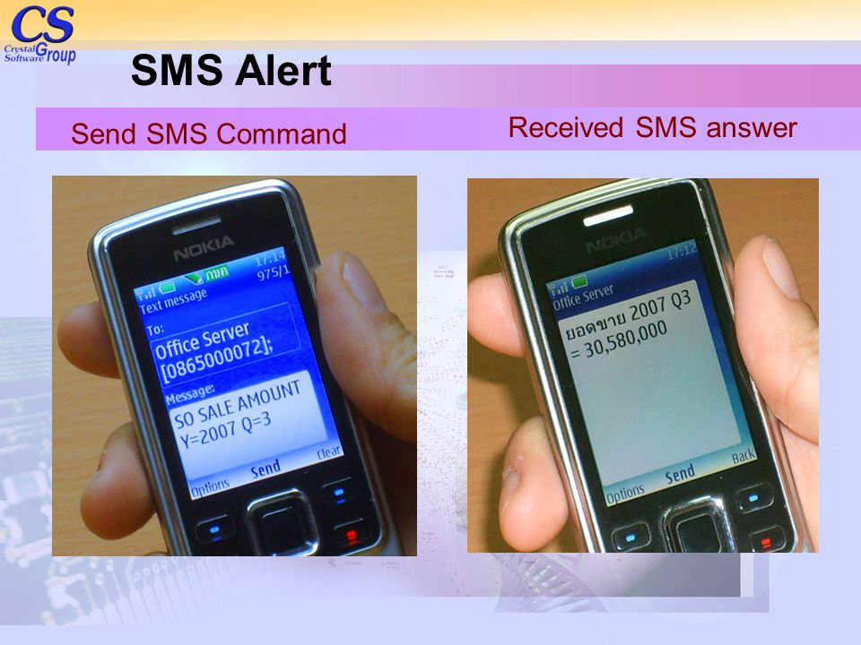 SMS Alert Received SMS answer Send SMS Command