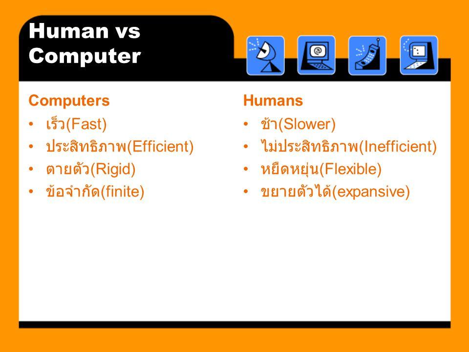 Human vs Computer Computers Humans เร็ว(Fast) ประสิทธิภาพ(Efficient)