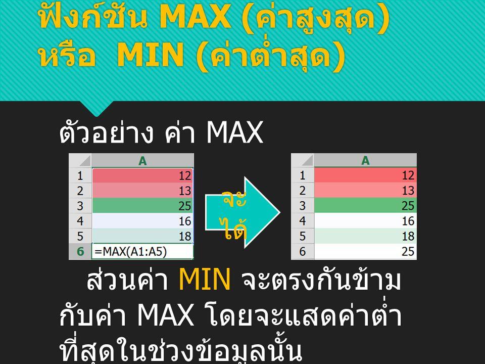 ฟังก์ชัน MAX (ค่าสูงสุด) หรือ MIN (ค่าต่ำสุด)