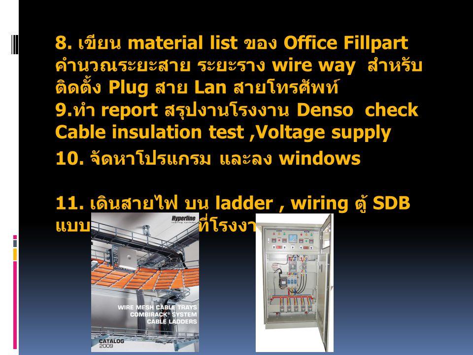 8. เขียน material list ของ Office Fillpart คำนวณระยะสาย ระยะราง wire way สำหรับติดตั้ง Plug สาย Lan สายโทรศัพท์