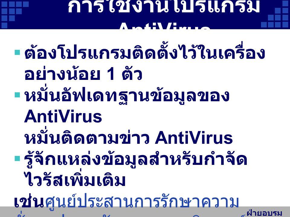 การใช้งานโปรแกรม AntiVirus