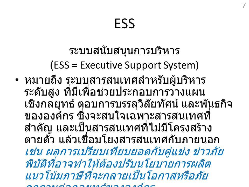 ESS ระบบสนับสนุนการบริหาร (ESS = Executive Support System)