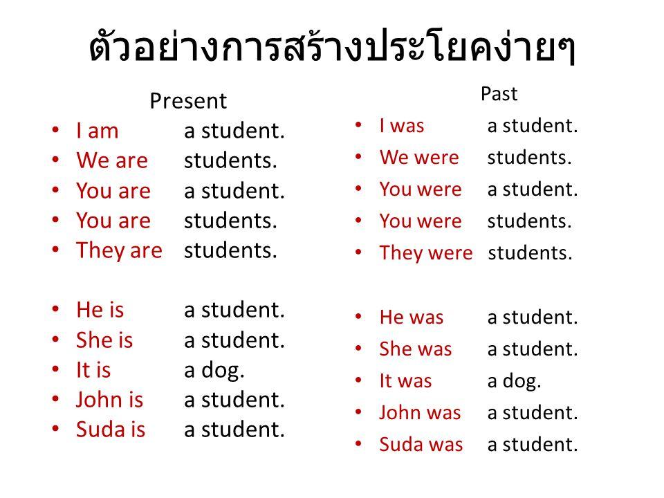 ตัวอย่างการสร้างประโยคง่ายๆ