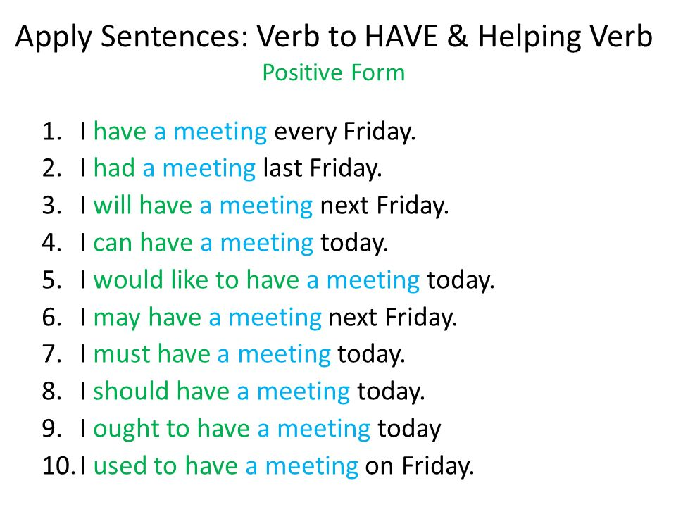 Apply Sentences: Verb to HAVE & Helping Verb Positive Form